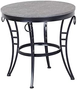 Armant Round End Table in Cinder Gray with Round Table Top And Metal Legs, by Artum Hill