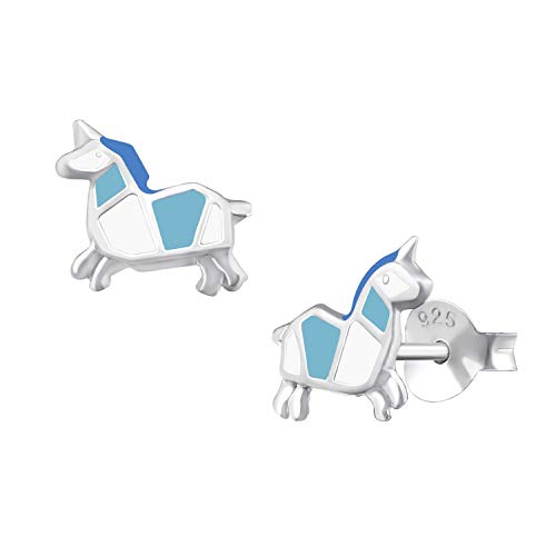 Silver 8mm Origami - 8mm Origami Blue Unicorn Studs Earrings for 925 Sterling Silver Jewelry Push Back