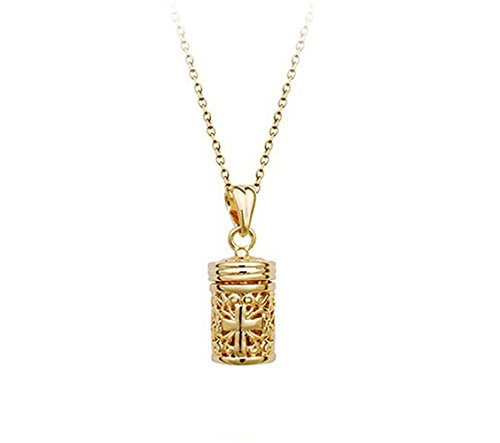 (Prayer Box Tubular Shaped with Cross Pendant Hollow Style Unisex Necklace Fashion Jewelry (Gold Plated))