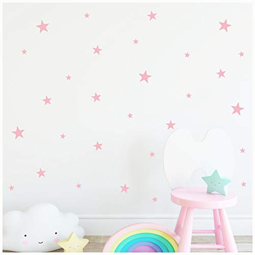 Stars Assorted Self Adhesive Vinyl Wall Pattern Decal Stickers (Set of 108, Vintage Pink)