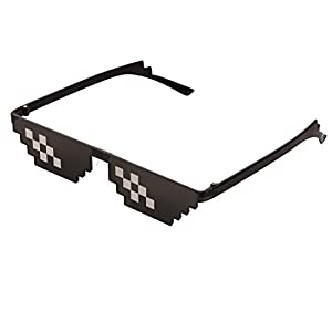 CENWOCON Thug Life Stance Sunglasses 8-Bit Pixelated Glasses Deal With It Glasses Novelty Gag Gift for Gamer Sunglasses Double-Row-Pixel D1PCs