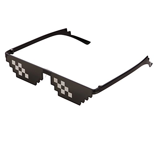 CENWOCON Thug Life Stance Sunglasses 8-Bit Pixelated Glasses Deal With It Glasses Novelty Gag Gift for Gamer Sunglasses Double-Row-Pixel - Sunglasses Bit 8 Pixel