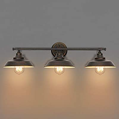 KingSo Bathroom Vanity Light 3 Light Wall Sconce Fixture Industrial Indoor Wall Mount Lamp Shade for Bathroom Kitchen Living Room Workshop Cafe - ✔ Morden and Vintage Style - 3-light Wall Mount Sconces evoking early 20th century factory lighting, the KingSo collection complements a wide variety of décor, from starkly contemporary to warm farmhouse, add retro appeal. ✔ Bulb Type - Use three 60-watt maximum incandescent light bulbs (not included), E26 Medium Base. Please note that the surface of the lamp has dark bronze texture with golden rim, not black before purchase. ✔ 100% Satisfaction Guarantee and Customer Care - If you have any problems after you receive the lamp, please contact us first with your order ID or contact us via cecvosus@zoho.com.cn, we provide 12 MONTHS WARRANTY. We're always here to help you with your order of brillant products and customer services. - bathroom-lights, bathroom-fixtures-hardware, bathroom - 319hSivPZdL. SS400  -