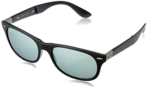 Ray-Ban FOLDING - MATTE BLACK Frame GREEN MIRROR SILVER Lenses 55mm - Round Folding Ray Polarized Ban