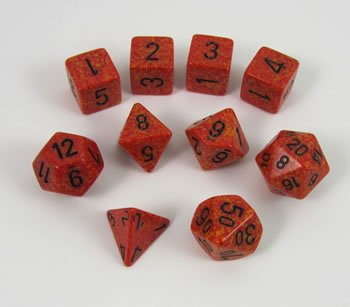 Fire Elemental Polyhedral Dice Set - 10pc Set in (Dice Set 10pc Set In Tube)