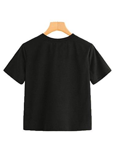 d36d5dd9a1b Romwe Women s Summer Rainbow Color Block Striped Crop Top School Girl Teen  Tshirts