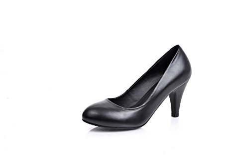 BalaMasa Girls Low-Cut Uppers Round Toe Solid Cow Leather Pumps-Shoes Black DxrllpHL5m