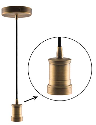 Bronze Mini Pendant Light Fitting Antique Style, Single Light Socket, 4.75'' Canopy, Adjustable 10ft Black Fabric Cord, Ceiling Lighting Fixture, E26 Lampholder, Harwez LP-116-5 ()