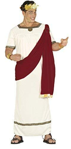 Mens Adult Emperor Augustus Roman Toga Historical Ancient Ruler Fancy Dress Costume Outfit Large (Large) White ()