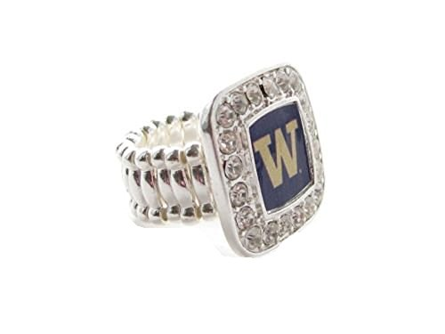 Sports Accessory Store Washington Huskies UW Clear Crystals Square Fashion Stretch Ring by Sports Accessory Store