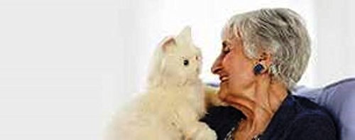 Joy For All Companion Pets - Lifelike & Realistic - for Older Adults, Alzheimer's Disease, Dementia & Memory Loss, White Cat