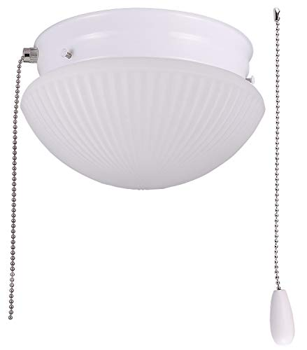 - Cloudy Bay LED Flush Mount Ceiling Light with Pull Chain,Glass Shade, 7 inch,12W Dimmable, CRI90 3000K Warm White,Damp, White
