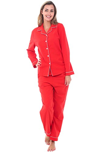 Alexander Del Rossa Womens Flannel Pajamas, Long Cotton Pj Set, Large Red (A0509REDLG)