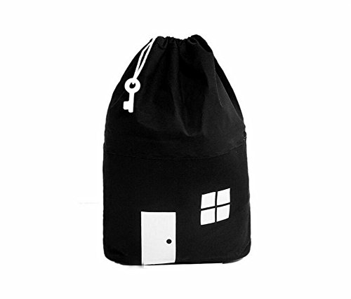 AuReve Cotton Canvas House Storage Bags Quick Pouch Organizer Drawstring Bag Tidy the Room Children's Toys Home Stuff One-shoulder Travelling Bags Black by AuReve