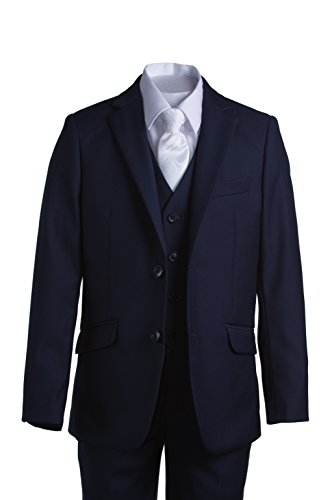 Boys Navy Blue Slim Fit Communion Suit with Vest & White Clergy Tie (10 Boys) by Tuxgear (Image #4)