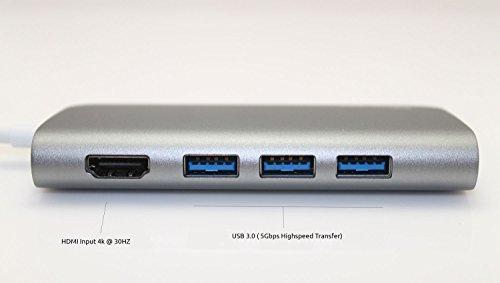 Juiced Systems BizHUB USB-C Multiport Gigabit HDMI Hub, 3x USB 3.0 Ports, Gigabit Ethernet, HDMI 4K, SD/Micro SD, USB-C Power Delivery by Juiced Systems (Image #3)