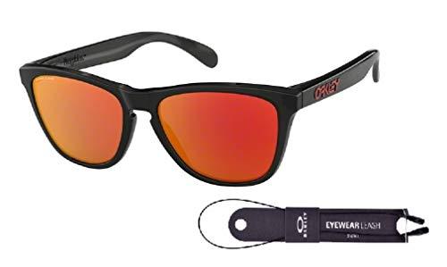 Oakley Frogskins OO9013 9013C9 55M Black Ink/Prizm Ruby Sunglasses For Men For Women+BUNDLE with Oakley Accessory Leash Kit (Weißen Rahmen Oakley Sonnenbrille)