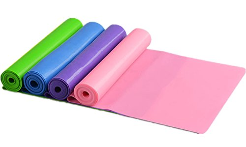 (4 Pack Super Exercise Band 5 ft. Long Resistance Bands. Flat Latex Free Home Gym Fitness Equipment For Physical Therapy, Pilates, Stretch, Yoga, Strength Training Workout. In Light, Medium or Heavy Te)