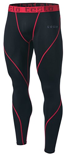 CD TM-MUP19-KKR_Medium Tesla Men's Compression Pants Baselayer Cool Dry Sports Tights Leggings MUP19
