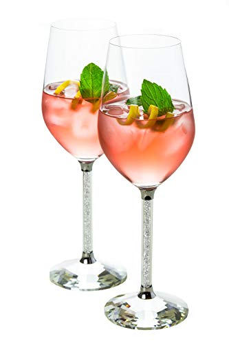 Wine Glasses- Crystal Stemmed Glassware Set (Silver)