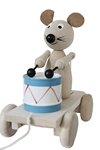 Ella&Frederik Natural Wooden Pull Along Mouse with Drum | Montessori Toys Handmade in Europe (Theodor The Drummer)