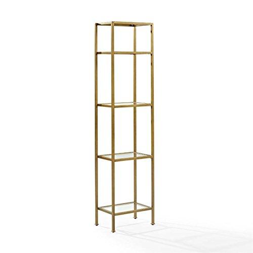 Crosley Furniture CF6114-GL Aimee Narrow Etagere Bookcase, Gold and Glass by Crosley Furniture