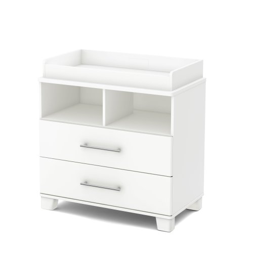 (South Shore Cuddly Changing Table with 2 Drawers and open Storage Space, Pure White)
