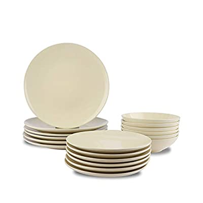 AmazonBasics 18-Piece Stoneware Dinnerware Set - Cream, Service for 6 - 18-piece dinnerware collection with settings for 6 people Includes 6 each: 11 inch dinner plates, 8 inch salad plates, and 7 inch bowls Made of durable stoneware for reliable everyday use - kitchen-tabletop, kitchen-dining-room, dinnerware-sets - 319hmaAcRyL. SS400  -