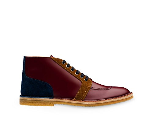 Prada Red Leather - Prada Men's Brushed Leather Chukka Boot, Burgundy/Tobacco/Navy (11 US/10 UK)