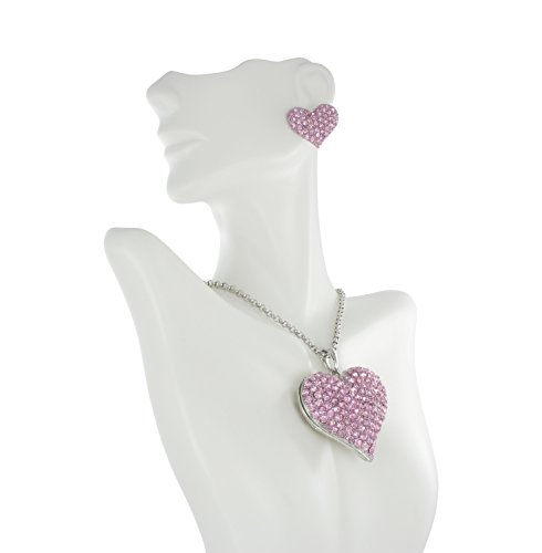 (Grand Puffed Heart Rhinestone Necklace Pendant and Stud Earrings Set with Pink Crystals)