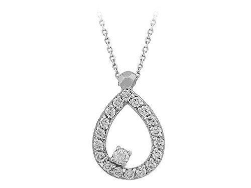 Birgie Diamants et Bijoux - Pendentif Poire de Diamants-Femme- or Blanc 201P0076