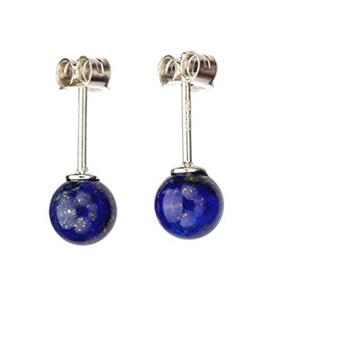 6mm Blue Lapis Stone Ball Stud Sterling Silver Post Earrings - Lapis Lazuli Ball Stud