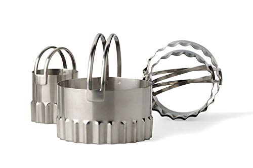 Akkapeary Endurance Set of 4 Stainless Steel Round Rippled Biscuit Cutters 1-3/8