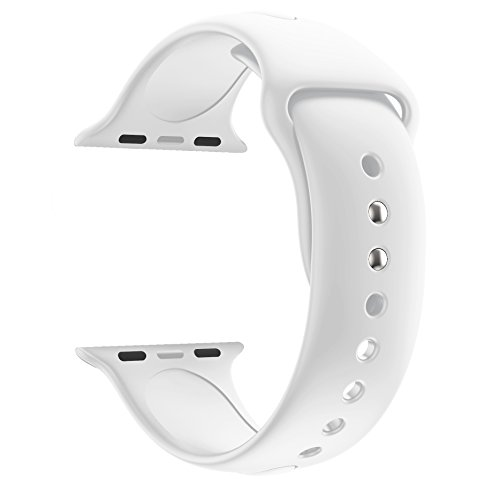 Wrist Electronic Watch (Huanlong 38mm New Soft Silicone Sport Style Replacement Iwatch Strap Band for Apple Wrist Watch Series 1/2/3(White 38mm S/M))