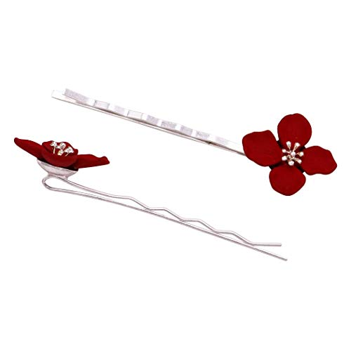 Rosemarie Collections Women's Summer Fun Hair Clip Colored Metal Flower Bobby Pins Hair Barrette Accessories (Red)