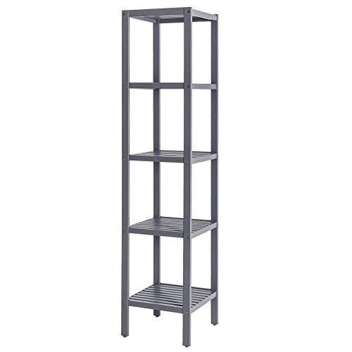 SONGMICS 5-Tier Bamboo Bathroom Shelf, Standing Kitchen Rack, 13