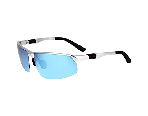 Tou che Fishing polarized sunglasses, driving glasses (Silver frame blue lens, - Glasses Frames Mercedes