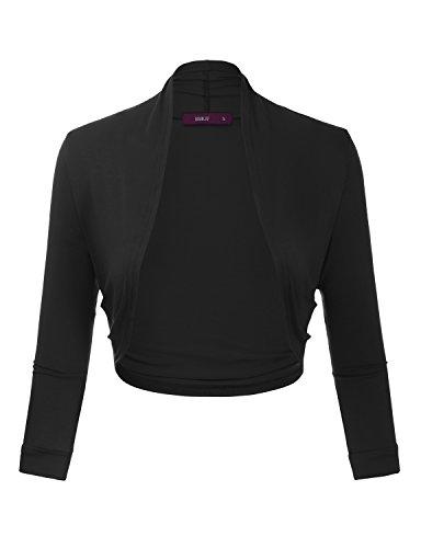 Doublju Bolero Shrug Open Front Cropped Cardigan for Women with Plus Size