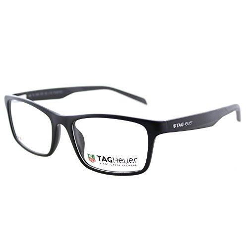 TAG Heuer B-URBAN 0555 Plastic Unisex Designer Rectangle Eyeglasses Frames (Matte Black Dark Grey, 57)