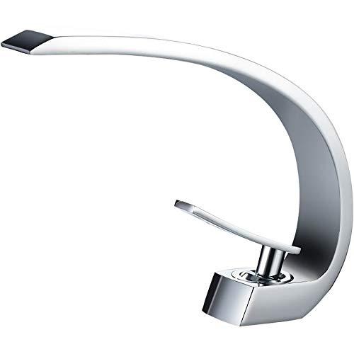 DDGYGG Wasserhahn Chrom Waschtischarmaturen Bad Wasserhahn Einhand-Waschtischmischer Bad Wasserhahn Messing Waschbecken Wasserkran Silber
