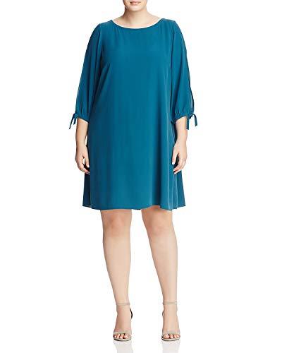 (Eileen Fisher Women's Plus Silk Georgette Crepe Bateau Neck Mini Dress, Blue Spruce (XXL))