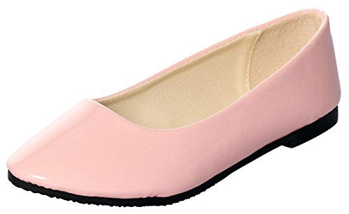UJoowalk Womens Solid Pointed Toe Ballet Slip on Flat Shoes Smooth Pink 67DoxgiY