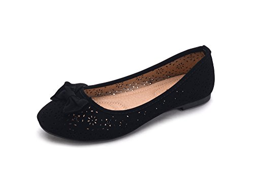 Greens Perforated Laser Cut Women's Ballerina Chic Flats Shoes W/Bow (Dinla02) Black Size 8.5
