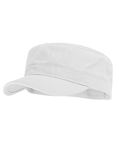 NYFASHION101 Fashionable Solid Color Unisex Adjustable Strap Cadet Cap, White
