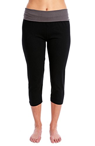 Nouveau Women's Workout Active Capri Yoga Pant with Contrasting Color Waistband Casual Loungewear - Black W. Charcoal, Medium ()