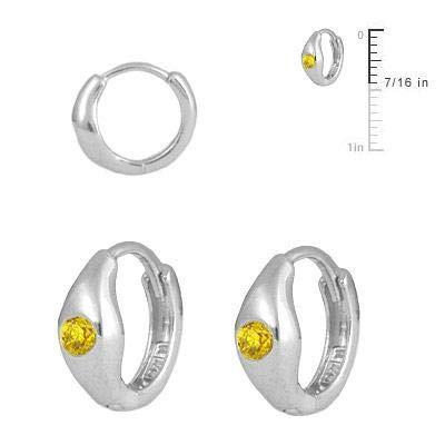 Childrens Jewelry Sterling Silver Simulated Birthstone Huggie Hoop Earrings
