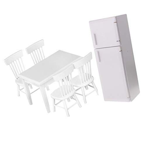 Vitra Set Chair - Brosco 1/12 Dollhouse Miniature Kitchen Furniture Refrigerator Table Chairs Set