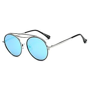 Cramilo CA10K Mirrored Polarized Lens Vintage Round Sunglasses (Silver/Ice Blue, 54)