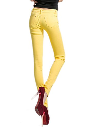 DELEY Pants Basic Fit Yellow Skinny Solid Women Jeans Stretch Juniors Jegging Leg 7rq7B0
