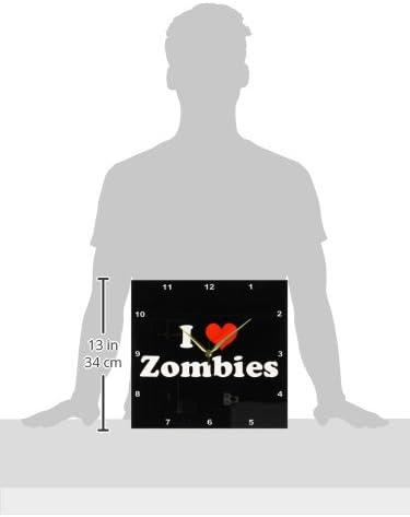 3dRose DPP_16571_2 I Love Zombies-Wall Clock, 13 by 13-Inch